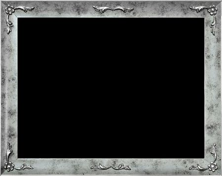 cadre: Stylish silver frame with flowers, isolated on black