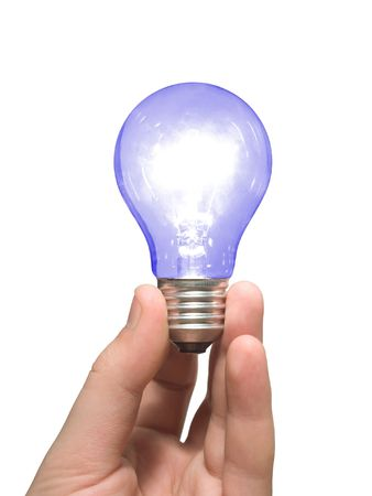 irradiation: Blue light bulb in hand, isolated on white