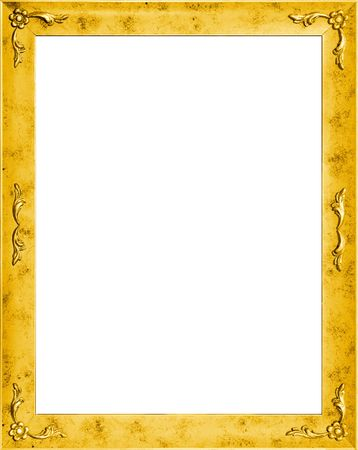 cadre: Stylish golden frame with flowers, isolated on white