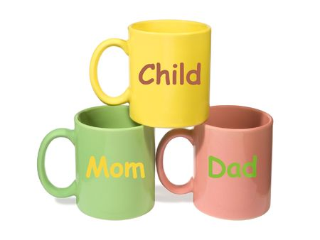 Three colorful mugs - Mom, Dad, Child (family), isolated on white photo