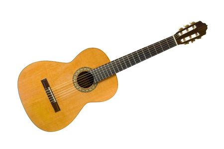 Classical acoustic guitar, isolated on white background Stock Photo