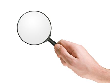 Magnifying glass in hand, isolated on white, clipping path Stock Photo - 769357