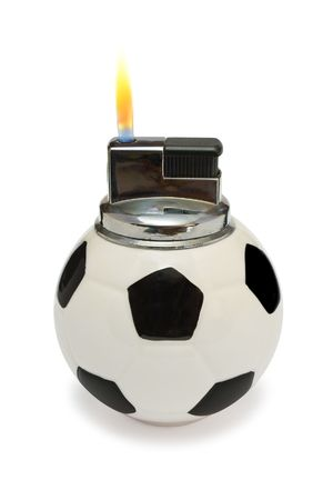 fueled: Flaming lighter like a soccer ball, isolated on white