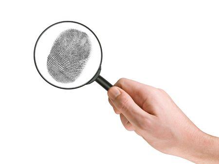 delincuencia: Huella digital y la lupa en la mano, aislados en blanco  Foto de archivo