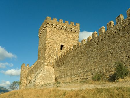 Tower and wall of old fortress Stock Photo - 809596