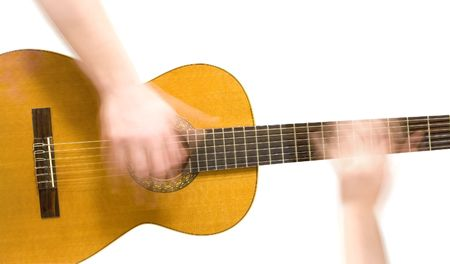harmonist: Classical acoustic guitar and hands (slow motion) of musician, on white background