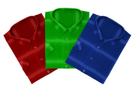 Three shirts (red, green, blue), isolated on white background photo