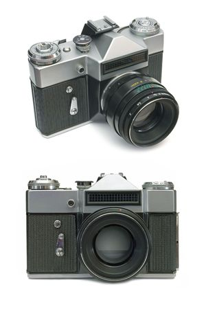 Old film camera, isolated on white background photo