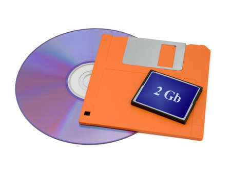 CD, floppy disk and flash card, isolated on white photo
