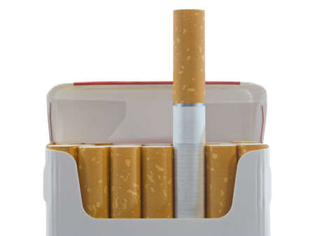 Pack of cigarettes, close-up, isolated on white background photo
