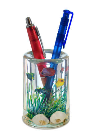 Two pens in container (like a aquarium), isolated on white photo
