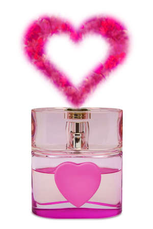 Bottle of perfume, aroma like a heart from flowers, isolated on white photo