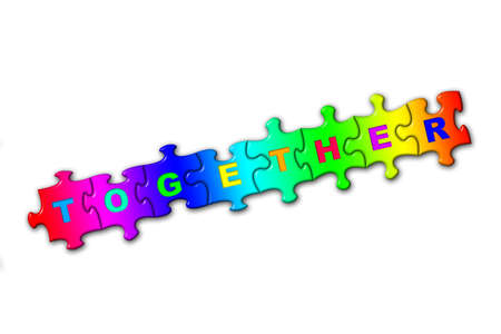 Word Together from puzzles, isolated on white photo