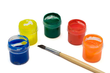 Paintbrush and multicolored paints on white paper Stock Photo - 812026