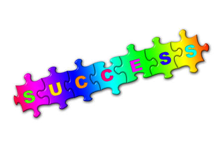 Word Success from puzzles, isolated on white photo