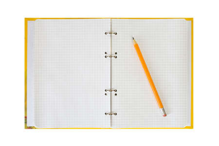 Notepad and pencil, isolated on white background photo