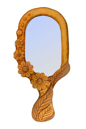 Mirror in wooden frame, isolated on white (clipping path) Stock Photo - 858223