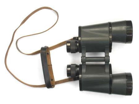 Black binoculars isolated on white background photo