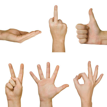handsign: Collection of hands, isolated on white background