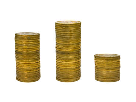 Podium from stacks of golden coins, isolated on white background photo