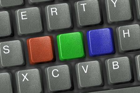 Keyboard with three multicolored empty keys (rgb model) photo