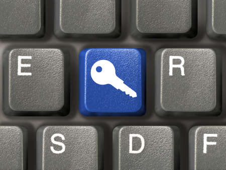 Keyboard (closeup) with blue security key Stock Photo - 904205