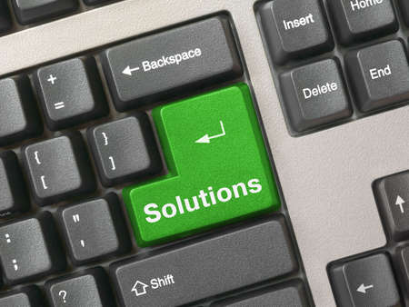 Computer keyboard - green key Solutions, close-up Stock Photo - 918883