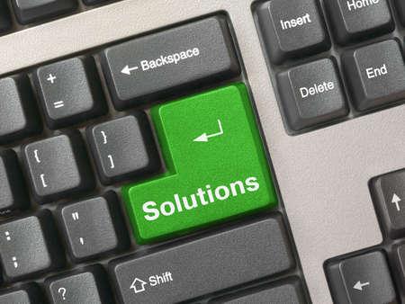 Computer keyboard - green key Solutions, close-up Stock Photo - 918883