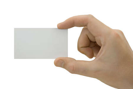 Blank card in hand, isolated on white background Stock Photo