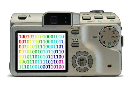 bytes: Bytes on display of digital camera, isolated on white background