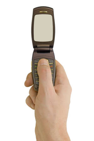 Flip phone in hand, isolated on white background photo