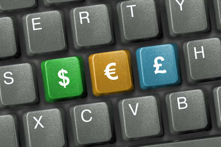 Keyboard close-up with three money keys (e-commerce)