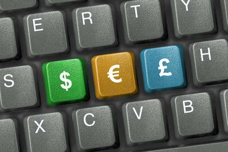 Tastatur Nahaufnahme mit drei Tasten Geld (E-Commerce)