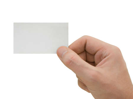 Blank card in hand, isolated on white background photo