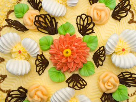 Cream cake, close-up, flowers and biscuit photo