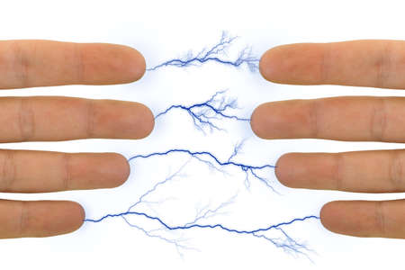 Hands and lightnings, isolated on white background photo