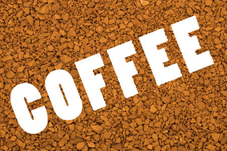 granular: Word Coffee on brown granular background