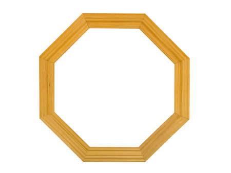 octagonal: Eight-square wooden frame, isolated on white background