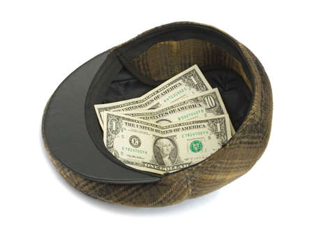 destitution: Hat with money, isolated on white background
