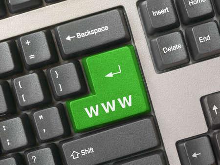 Computer keyboard - green Internet key, closeup photo