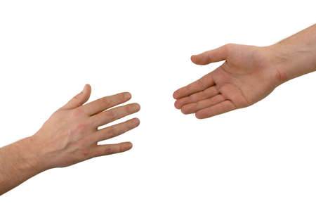 Two hands (help), isolated on white background photo