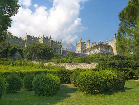 voroncov: Vorontsov Palace, bushes and mountains, Crimea Stock Photo