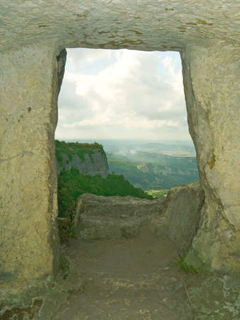 stony: Window in stony wall, cave town, Crimea