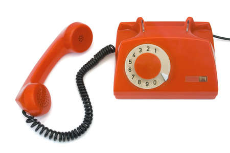 Retro telephone and receiver, isolated on white background photo
