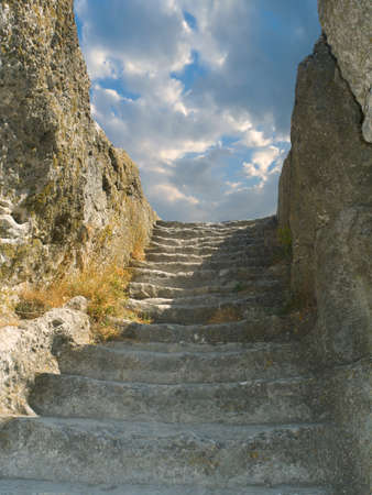 Old stone staircase to sky, cloudscape photo