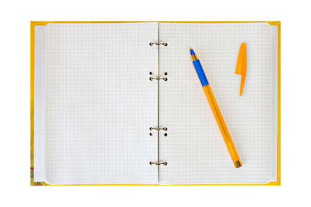 Notepad and pen, isolated on white background photo