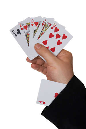 Cards in hand and ace in sleeve, isolated on white background