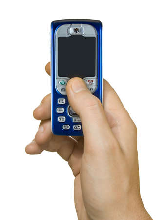 wireles: Mobile phone in hand, isolated on white background Stock Photo