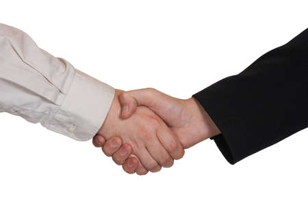 Handshake, isolated on white background photo