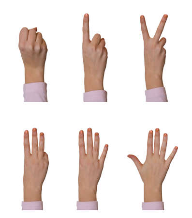 Hands, counting 0 to 5, isolated on white background photo